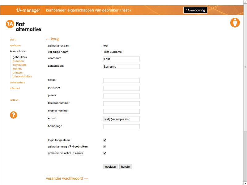 1A-manager - eigenschappen van gebruiker